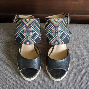 Black Colorfully Embroidered Wedges